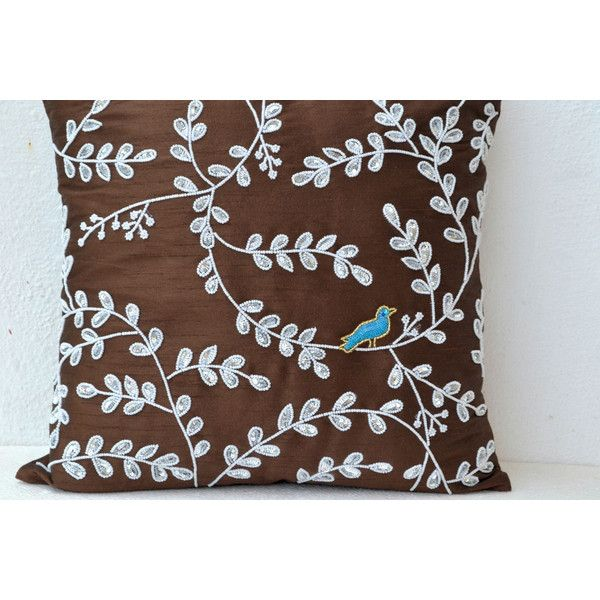 Brown throw pillows with bead sequin detail - Leaves bird pillow -... (1,975 INR) via Polyvore featuring home, home decor, throw pillows, beaded throw pillows, brown throw pillows, leaves throw pillow, beaded accent pillows and zippered throw pillows