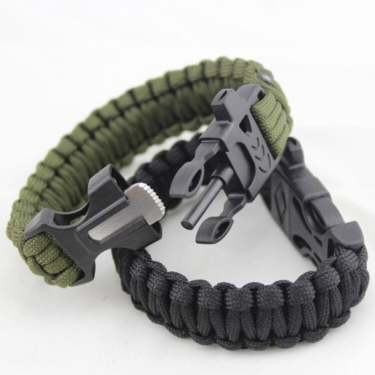 4 in 1 Flint Fire Starter Whistle Outdoor Camping Survival Bracelet