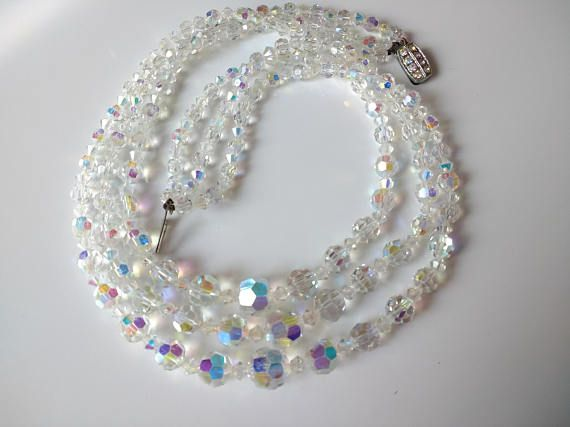 Beautiful Vintage AB Glass Necklace Signed Esquisite