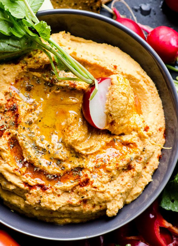 Sweet potato hummus recipe. With yams, chipotle in adobo and chickpeas. Delicious, creamy and perfect for veggie dipping.