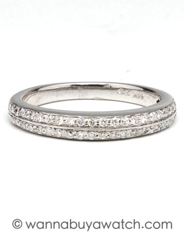 14K white gold band with 2 rows of bead set round SUPER brilliant diamonds 0.46cts total weight. 3mm wide. $895.00