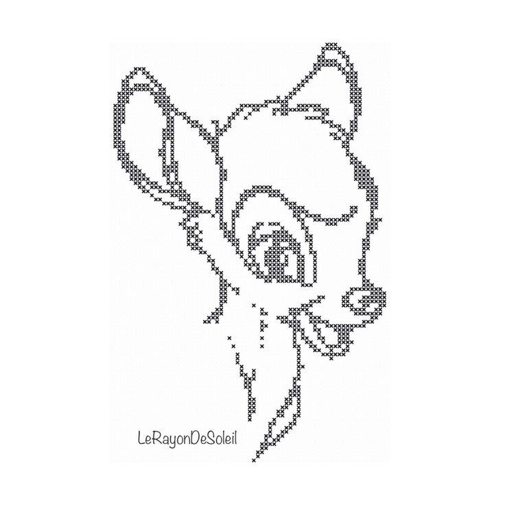 Cross stitch pattern Bambi vintage sketch door LeRayonDeSoleil