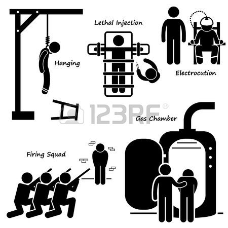 Execution Death Penalty Capital Punishment Modern Methods Stick Figure Pictogram Icons photo