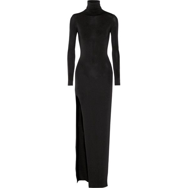 Elizabeth and James Lana stretch-jersey turtleneck maxi dress (605 AUD) ❤ liked on Polyvore featuring dresses, maxi dress, black, black sleeve dress, turtleneck dress, black turtleneck dress and kohl dresses