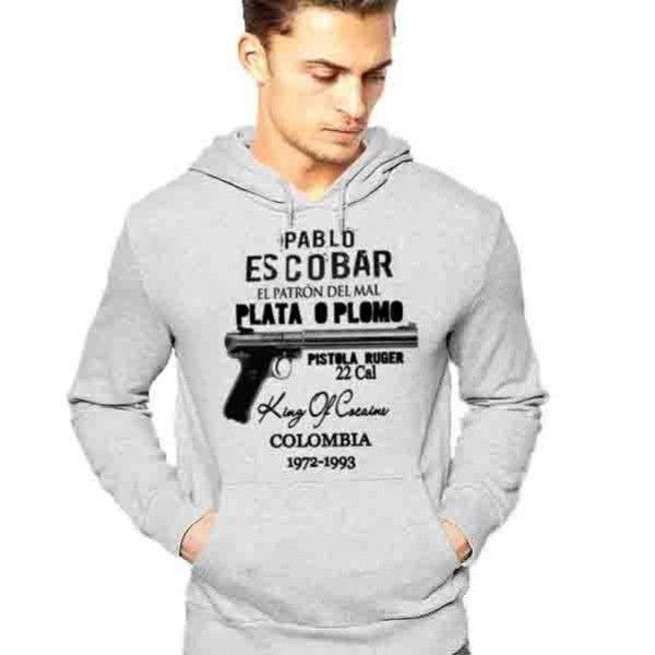 Pablo Escobar medellin Cartel t-shirt Narcos Series Plata O Plomo Pistola 22 Cal Rugger