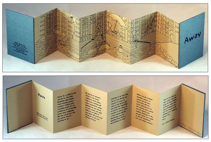 A double-sided book (words & pictures)                                                                                                                                                                                 More