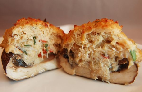 Crab Stuffed Mushrooms with Horseradish dipping sauce will try with imitation crab!