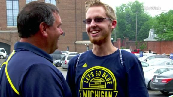 18-year-old Stephen Loszewski, whose football career was cut short by cancer, sees what it is like to be a prized recruit with his favorite college team.
