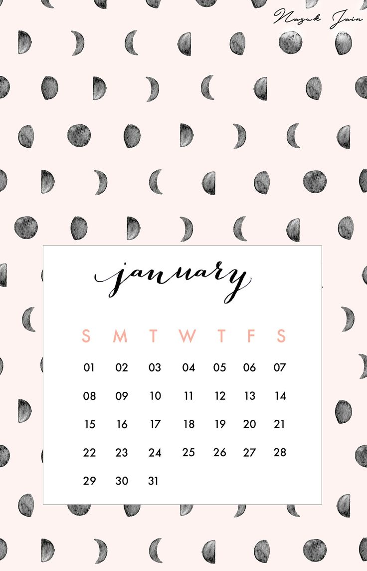 January - Free Calendar Printables 2017 by Nazuk Jain