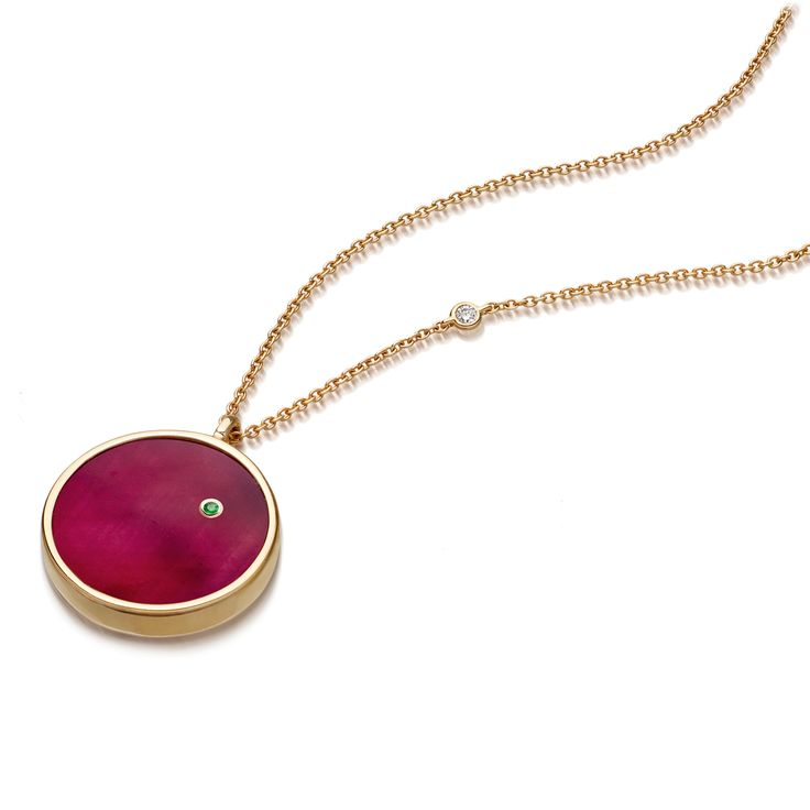 Mars Ruby Necklace.  Polished ruby in yellow gold with a tiny emerald martian.