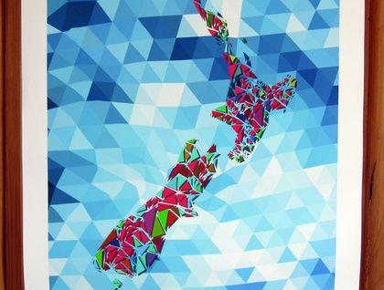 New Zealand Geometric Print