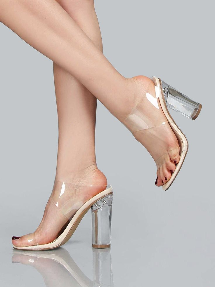 Azalea Wang Clear Sexy High Heels With Pointed Toe In Nude