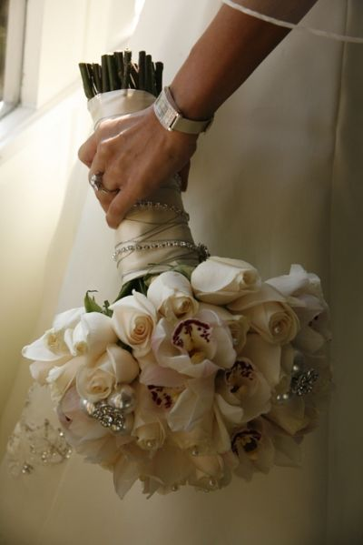 Roses and orchids and bling bouquet