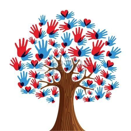 Isolato diversit� albero illustrazione mani. file con livelli per una facile manipolazione e la colorazione personalizzata.