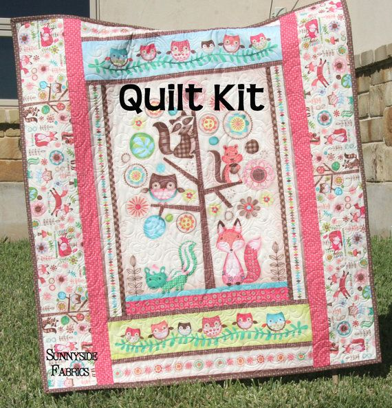 Woodland Girl Quilt Kit, Baby Blanket, Sewing Project, Craft ... : quilt panel kits - Adamdwight.com