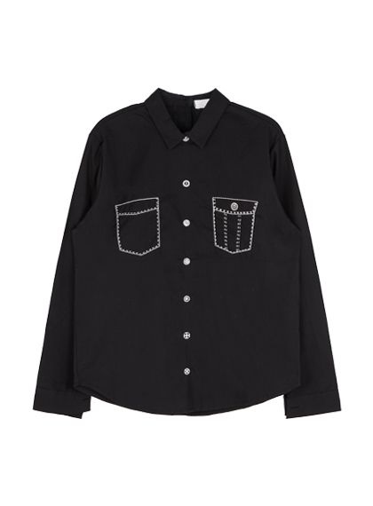 Fake Button And Pocket Print Shirt | MIX X MIX | Shop Korean fashion casual style clothing, bag, shoes, acc and jewelry for all