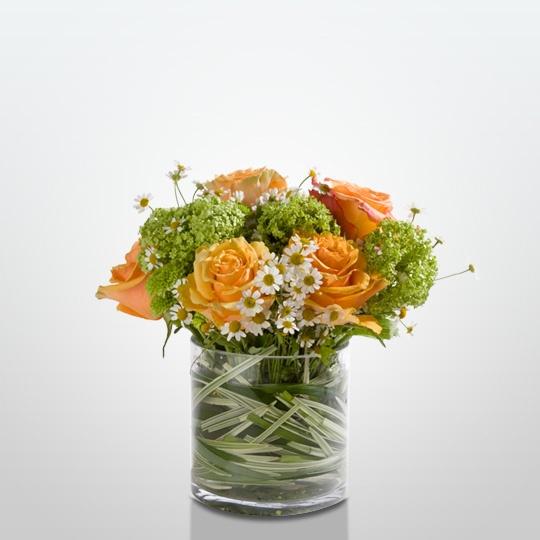 Peach, White, and Green arrangment