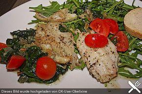 Alaska - Seelachsfilet auf Blattspinat - Tomaten - Bett  4,5 PP
