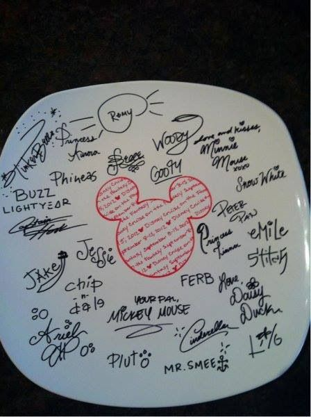 Love this idea! When on DCL, bring a plate and a bag of Sharpies, to guest services. They will have the characters autograph the plate. Bring it home and bake it. Awesome keepsake!!