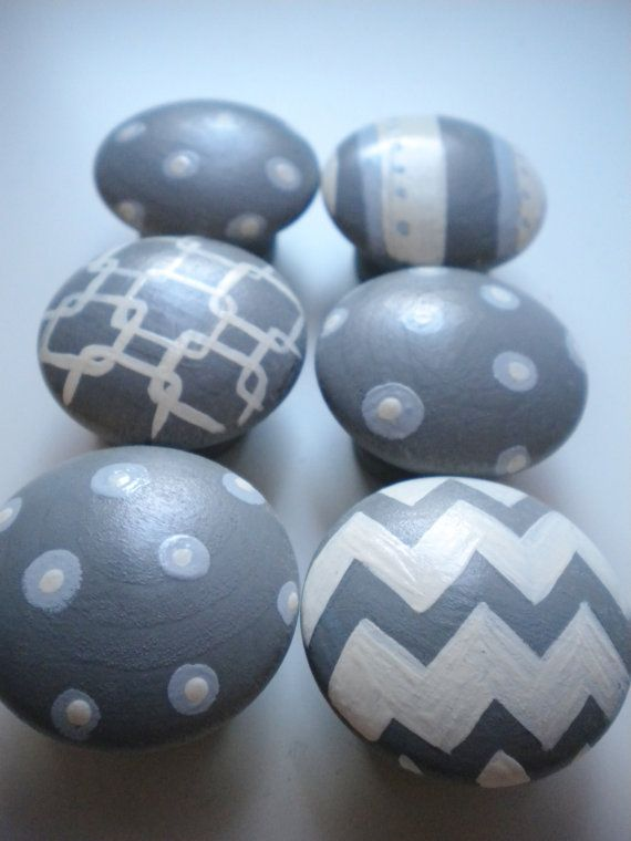 Drawer Knobs for Children- Handpainted- GEO MOD Theme- Set of 6- Great for Gender Neutral Nurseries on Etsy, $39.00