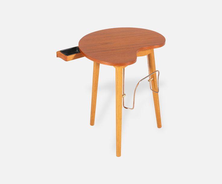 Danish Modern Side Table with Cigar Ashtray & Magazine Rack