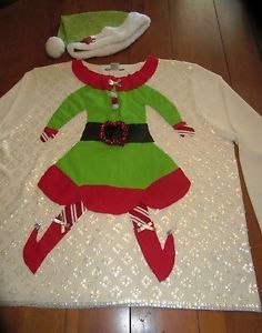 Ugly Christmas Sweater Elf Yourself w Hat White Sequin Background 2X Look   eBay