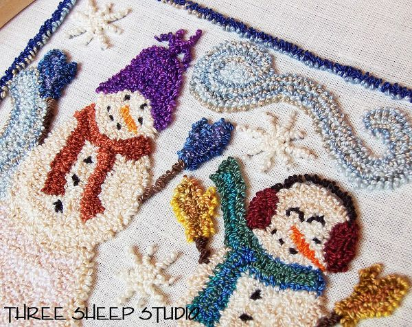 Punch Needle Snowmen Three Sheep Studio