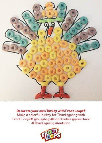 Make a colorful turkey for Thanksgiving with Froot Loops®! #busybag #kidactivities #preschool #Thanksgiving #autumn