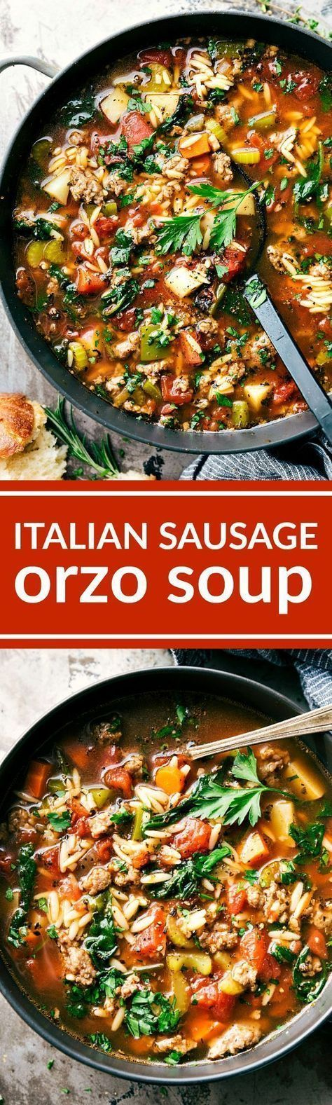ITALIAN SAUSAGE ORZO SOUP! A delicious and simple to make Italian sausage soup with plenty of veggies (clear out your fridge!) and orzo pasta. via http://chelseasmessyapron.com