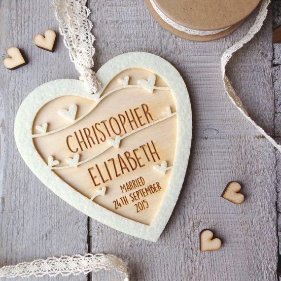 Personalised Wedding Day  Anniversary  Keepsake heart