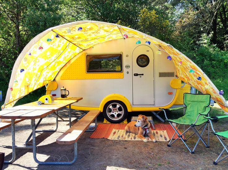 Teardrop Trailer with Attached Awning