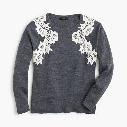 jcrew merino lace applique sweater