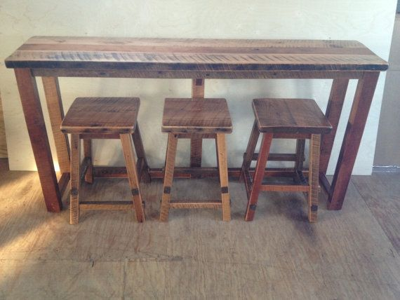 Rustic Reclaimed Barn Wood Furniture - Breakfast Bar with 3 Stools - Handmade - Custom Amish Made in USA Model# WD-600 WD-601B-UD Our Barn