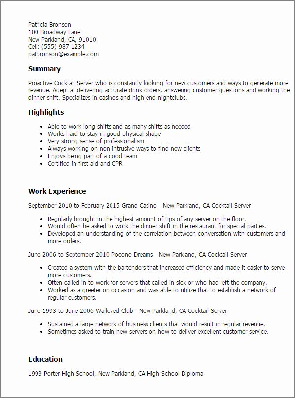 Resume Examples For Servers Best Of 1 Cocktail Server Resume Templates Try Them Now In 2020 Job Resume Samples Resume Examples Resume Objective Sample