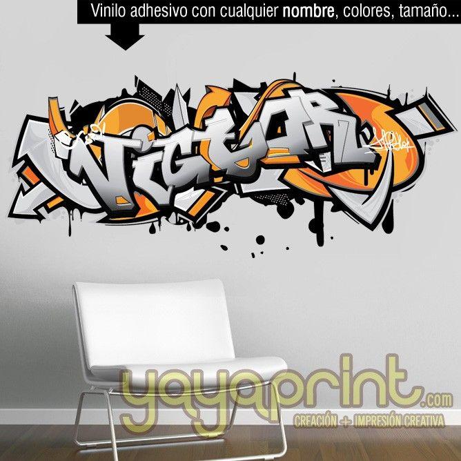 Graffiti nombre Hugo decoración habitación Yayaprint.com graffiti de nombre pared habitación cuarto dormitorio juvenil infantil niño niña decoración decorar mural personalizado vinilo Yayaprint