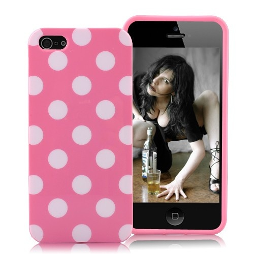 White Dots with Pink Grounding Pattern TPU Case for iPhone 5
