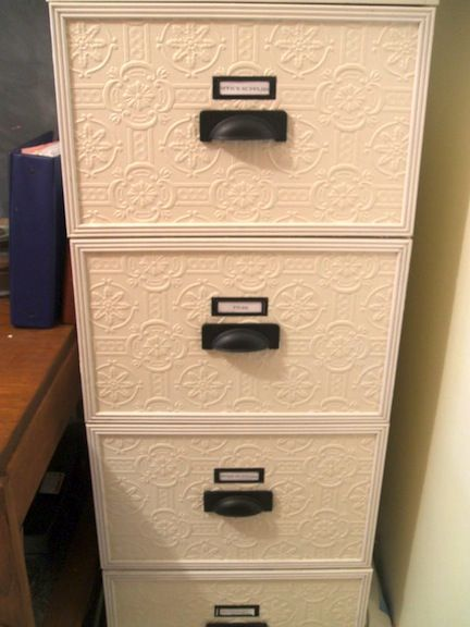 diy: transform an unattractive filing cabinet into something you can live with! WOULD LOOK GREAT with the lace and spray paint!