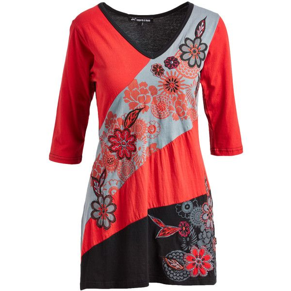 Leopards & Roses Red Floral Embroidery Color Block V-Neck Tunic ($45) ❤ liked on Polyvore featuring tops, tunics, red v neck top, colorblock tunic, long tops, v-neck tunic and block top