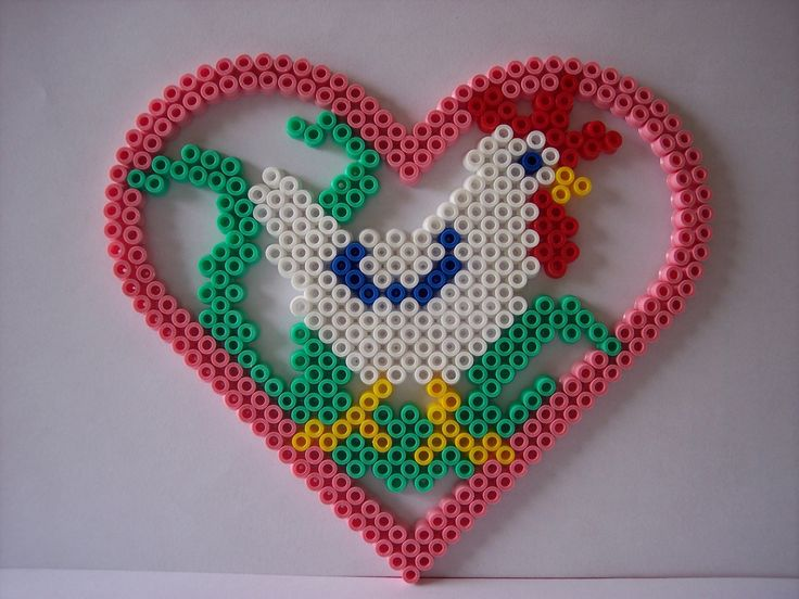 Easter heart ornament hama perler by les-anges-geek