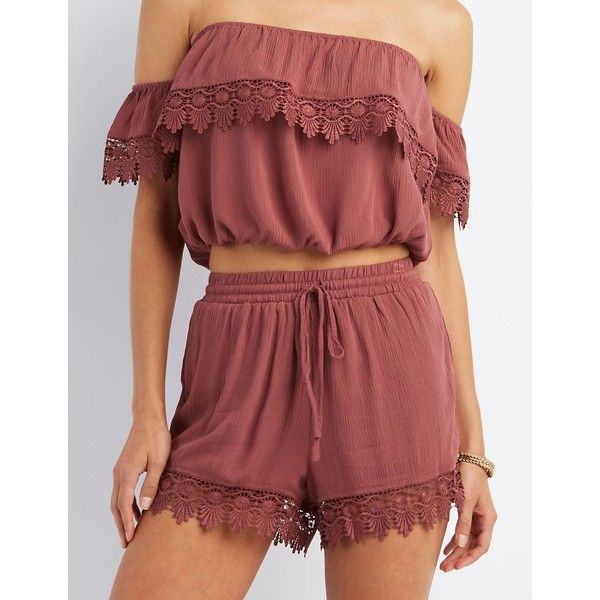 Charlotte Russe Crochet Trim Drawstring Shorts ($20) ❤ liked on Polyvore featuring shorts, red, draw string shorts, charlotte russe shorts, charlotte russe, red shorts and woven shorts