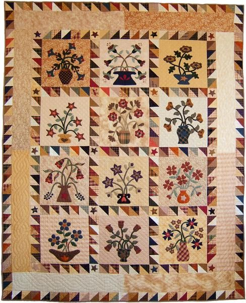 Applique flower block quilt