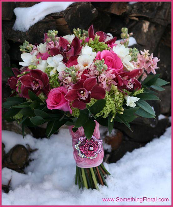 Wedding Flowers Warren Mi : Pink burgundy hot green and white hand tied