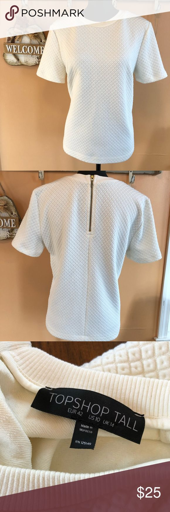 🌿Topshop Tall white sweater size 10🌿 Wonderful condition. Barely looks worn. Comes from a smoke free home. Soft stretchy material. Bust 20 inches length 24 inches. topshop tall Tops