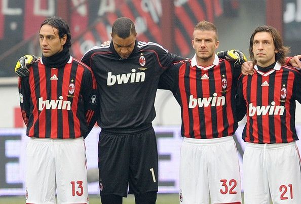 AC Milan Legends...then they all got old. Nesta, Dida, Beckham, Pirlo.