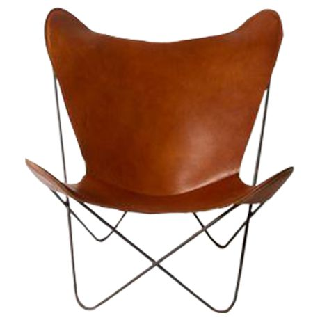 Mid-Century Leather Butterfly Chairs on Chairish.com