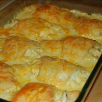 Cheesy Chicken Crescent Roll Casserole 5 boneless chicken breasts 1 c grated