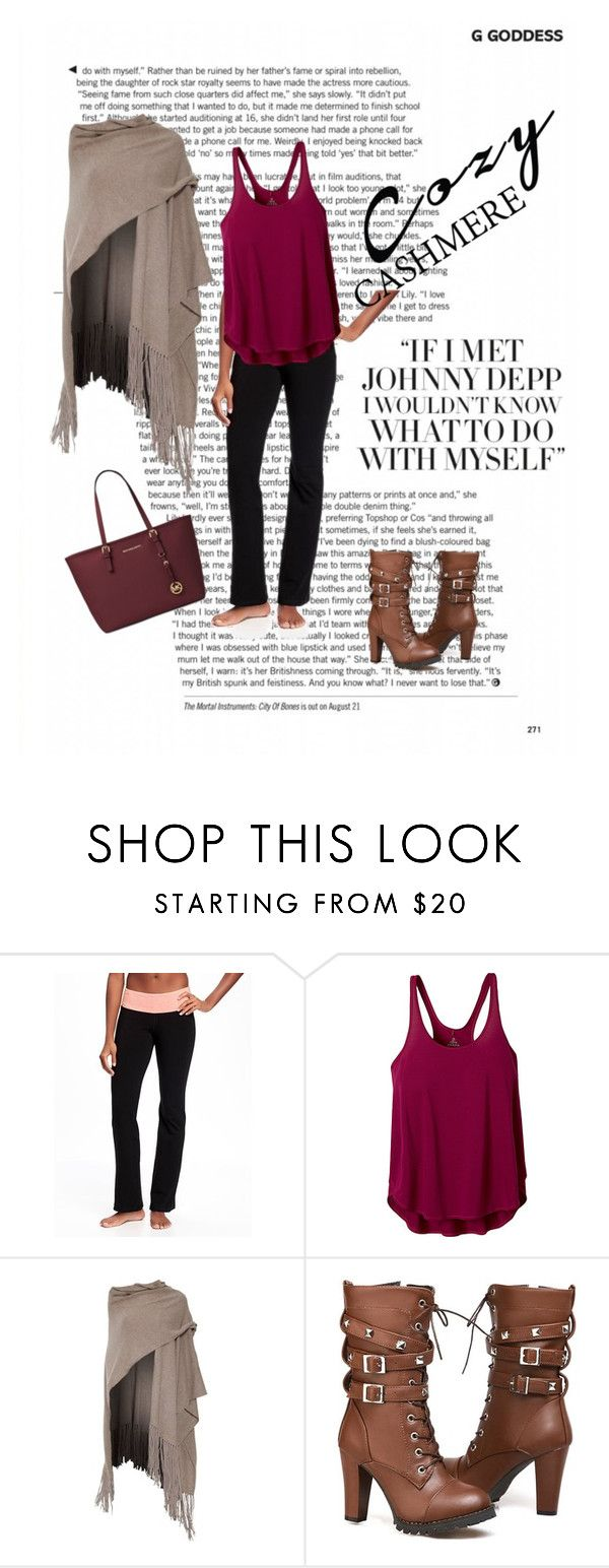 """""""Movie Marathon, with a RedBox Run"""" by amy-blevins ❤ liked on Polyvore featuring Old Navy, prAna, 360 Sweater and Michael Kors"""