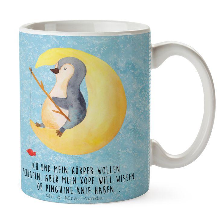 Tasse Pinguin Mond aus Keramik  Weiß - Das Original von Mr. & Mrs. Panda.  Eine wunderschöne spülmaschinenfeste Keramiktasse (bis zu 2000 Waschgänge!!!) aus dem Hause Mr. & Mrs. Panda, liebevoll verziert mit handentworfenen Sprüchen, Motiven und Zeichnungen. Unsere Tassen sind immer ein besonders liebevolles und einzigartiges Geschenk. Jede Tasse wird von Mrs. Panda entworfen und in liebevoller Arbeit in unserer Manufaktur in Norddeutschland gefertigt.     Über unser Motiv Pinguin Mond…