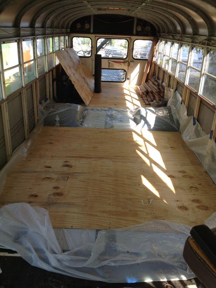 Sub floor being installed. Tar paper, 2x1 framing