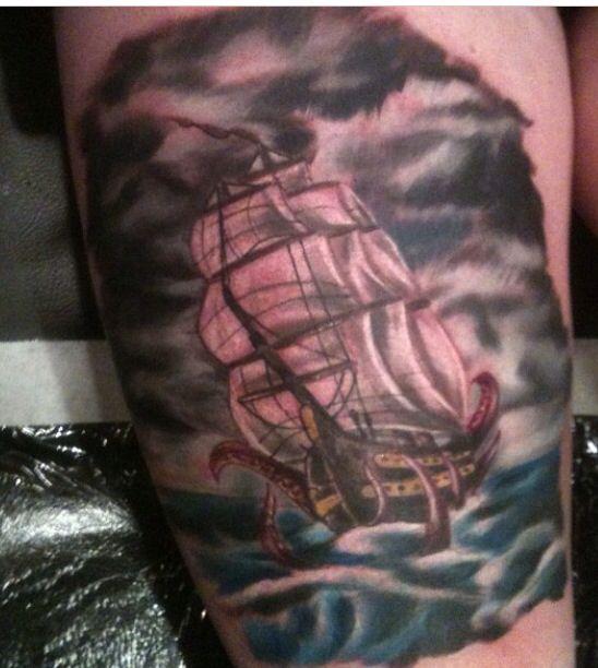 Tattoo of ship I did by Rob Castaldo done with formula 51 ink